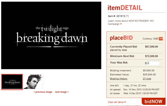 Robert-Pattinson-Breaking-Dawn-Auktion