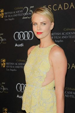 Charlize Theron BAFTA Party 2011 1 250x375 Charlize Theron & Chris Hemworth: BAFTA Tea Party