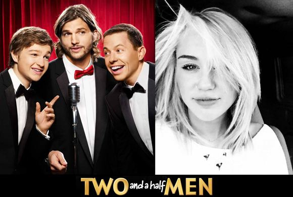 Ashton Kutcher Two And A Half Men Promo Miley Cyrus Miley Cyrus: Gastrolle in Two and a Half Men?