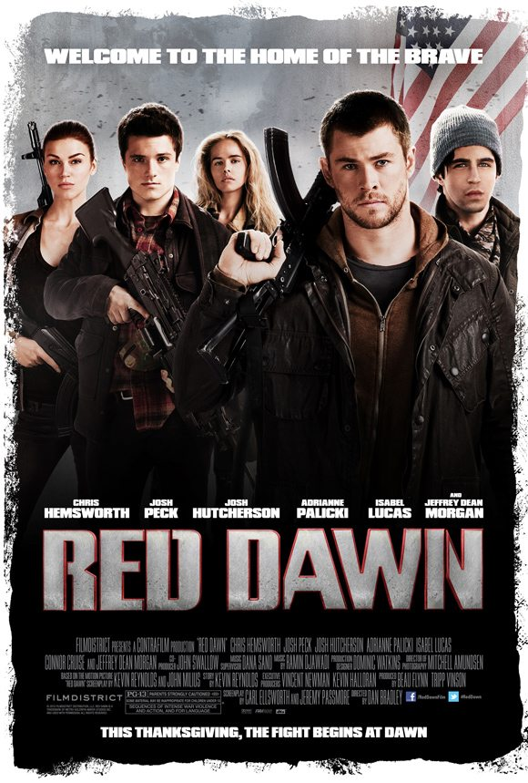 Red Dawn Poster Chris Hemsworth Josh Hutcherson Chris Hemsworth & Josh Hutcherson in Red Dawn   Trailer