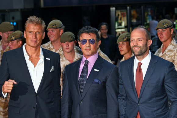 Stallone Lundgren Statham The Expendables Premiere London 2010 Clint Eastwood & Harrison Ford in The Expendables 3?