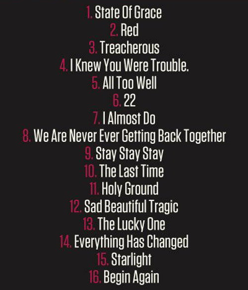 Taylor Swift Red Tracklist Taylor Swift: Diese Songs sind auf Red