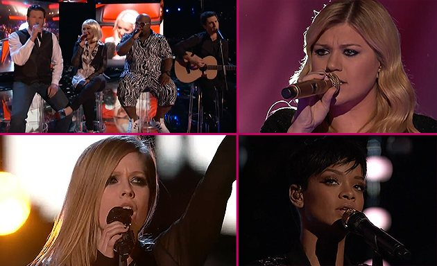 The Voice Finale Rihanna Lavigne Aguilera Rihanna und Avril Lavigne: The Voice Performances
