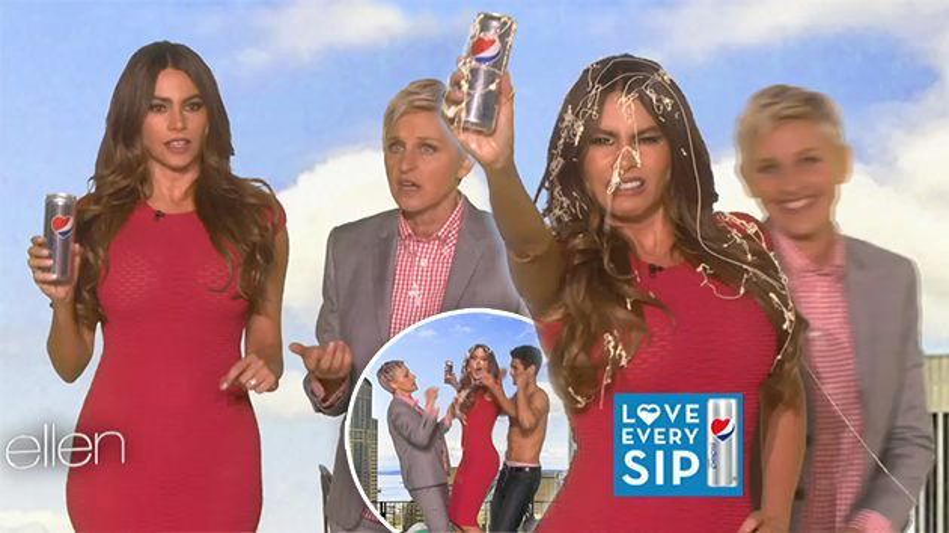 Sofia-Vergara-Ellen-DeGeneres-Pepsi-Werbedreh