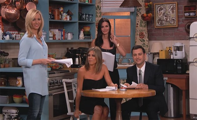 Jennifer Aniston Courteney Cox Lisa Kudrow Jimmy Kimmel Friends Reunion